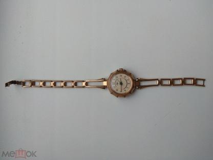 Часы женские механические Луч Позолота Au с браслетом СССР