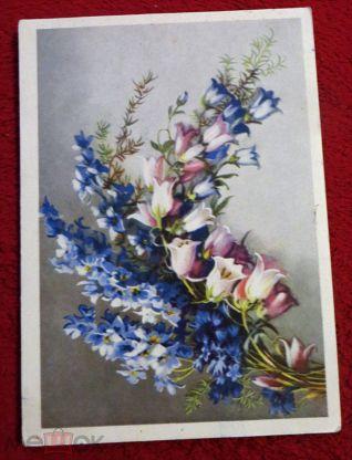 Марта своими, открытка полевые цветы 1954 год