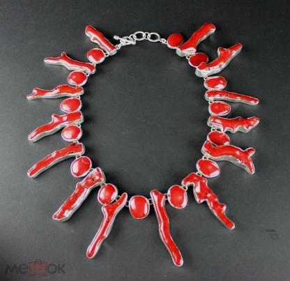 Коралловое ожерелье - авторская работа Чарльза Альберта, серебро 925, оригинал