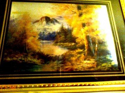 """Картина """" Горное озеро """" в рамке под стеклом времен СССР. RRR"""