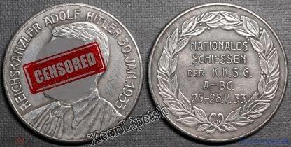 Медаль Национальные стрельбы 25-28 мая 1933 года Рейхсканцлер Адольф Гитлер копия посеребрение