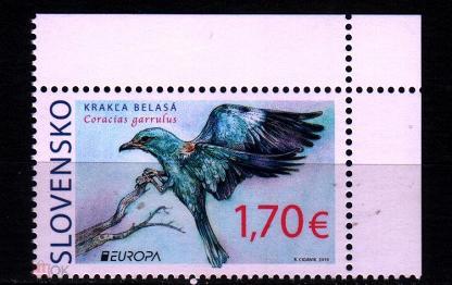 2019 Словакия Европа-Септ национальные птицы  - Сизоворонка 1х-марка**