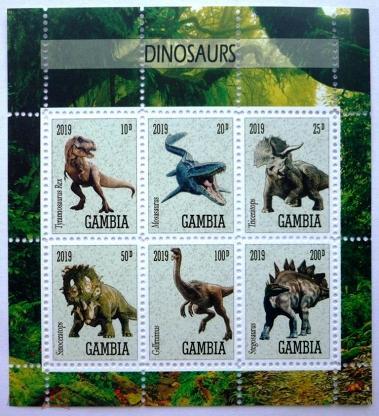 Гамбия 2019, Динозавры, ФАУНА, блок с перфорацией, ** Частный выпуск.