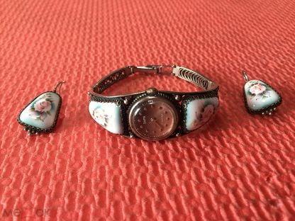 Набор часы Заря СССР на ходу серьги. Финифть, мельхиор, скань филигрань одним лотом