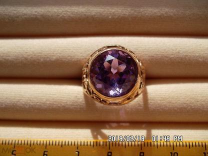 Кольцо аметист натуральный Ватиха Урал ручная огранка золото 583 5,76 гр