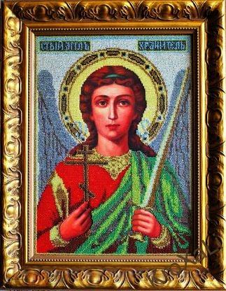 Икона Ангела Хранителя из бисера, ручная работа, в золотом багете, под стеклом
