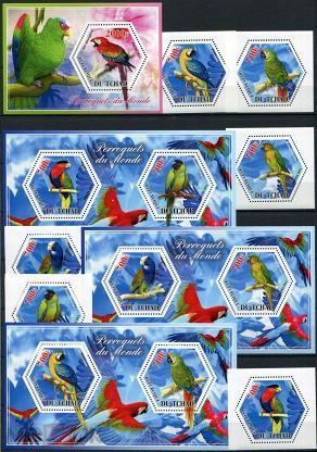 Чад 2014 Фауна Птицы Попугаи Серия 4 блока и 6 марок MNH
