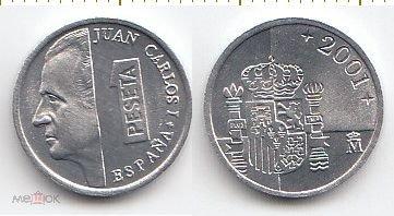 Испания Монета 1 песета 2001 год UNC (11233)*