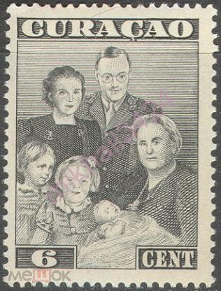3139 ✅ 2-я Мировая Война WWII Королевская семья Эмиграция Голландские Колонии 1943 Кюрасао 1м нп/с**