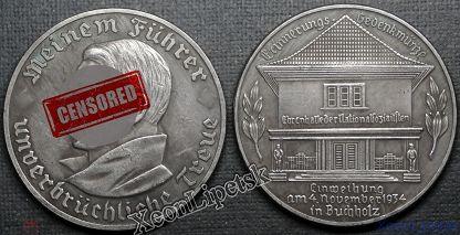 Медаль Открытие Зала Славы Национал-Социалистов (Буххольц) 1934 год Адольф Гитлер копия посеребрение