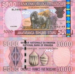 Руанда 5000 франков 2009 г. №37  UNC