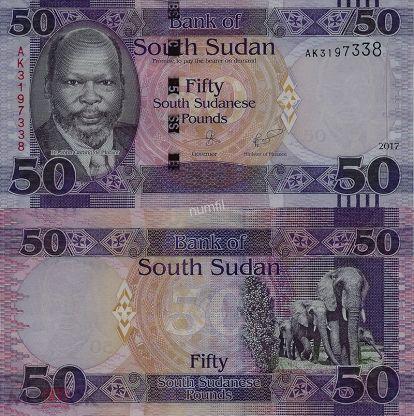 Южный Судан 50 фунтов 2017 г. UNC
